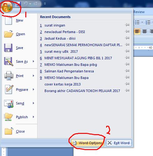 Cara Tukar Skala Pengukuran lain di Microsoft Word 2007